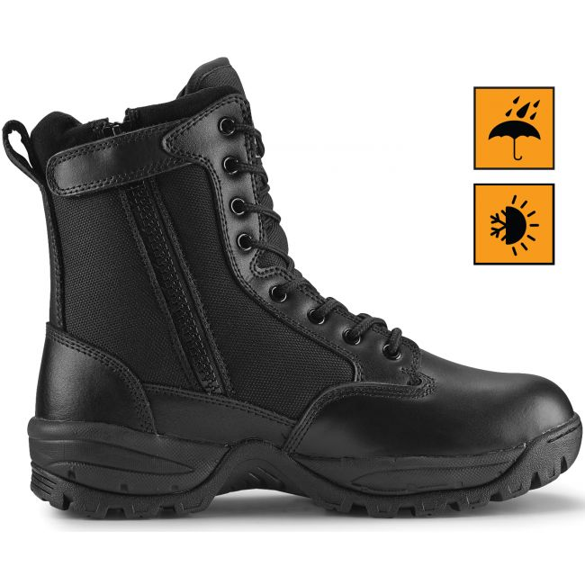 """TAC FORCE 8"""" Men's Black Waterproof Insulated Tactical Boot with Zipper"""