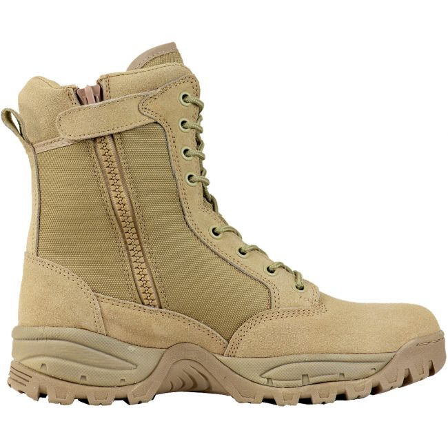 "TAC FORCE 8"" Men's Tan Suede Tactical Boot with Zipper"