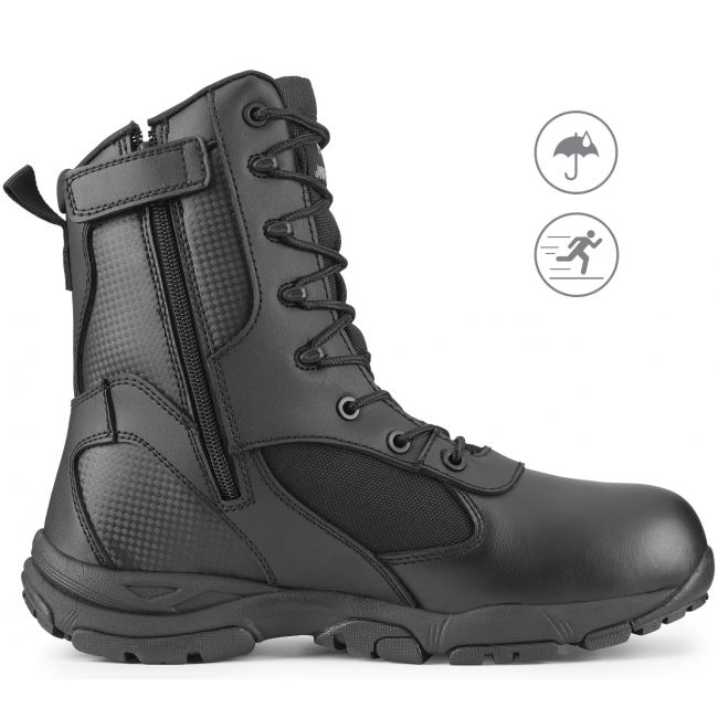 "TAC ATHLON 8"" Men's Black Waterproof Tacital Boot with Zipper"