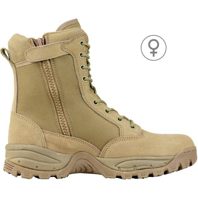 "TAC FORCE 8"" Women's Tan Suede Tactical Boot with Zipper"