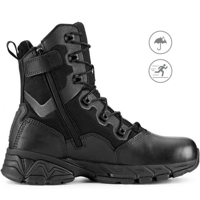 "TAC ELITE 8"" Men's Black Waterproof Tactical Boot with Zipper"